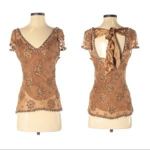 Plenty by Tracy Reese Embellished Beaded Top Sz 2
